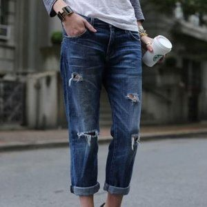 ZARA Distressed Dark Wash Boyfriend Jeans Size 2